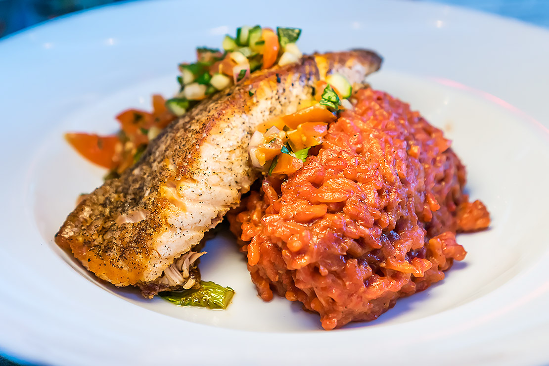 salmon and beet risotto
