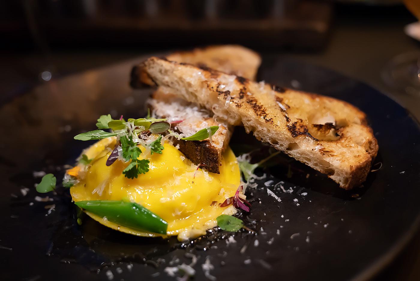 duck egg ravioli